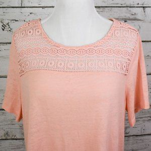 Old Navy Peach Lacy Shoulder Shirt